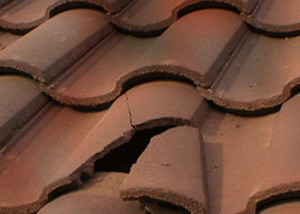 broken roofing tile
